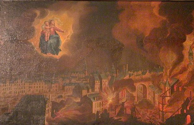 Voeu fait à Notre-Dame de Bonne Nouvelle par les habitants des Lices, rues St Louis, St Michel, place Sainte Anne, préservées de l'incendie du 22 décembre jusqu'au 30 décembre 1720